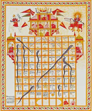 Jain version Game of Snakes & Ladders called jnana bazi or Gyan bazi, India, 19th century, Gouache on cloth