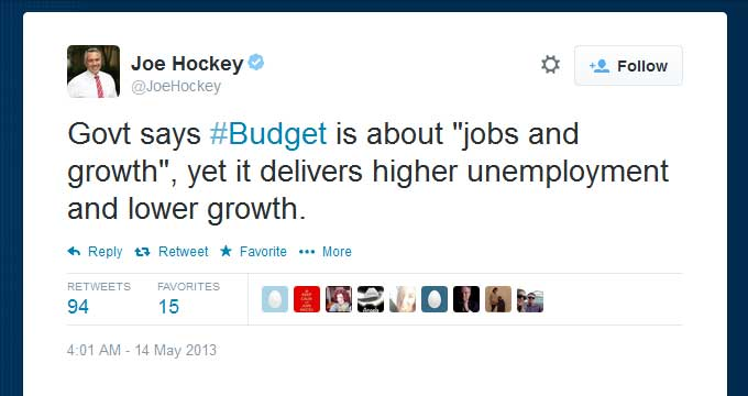 Govt says #Budget is about jobs and growth, yet it delivers higher unemployment and lower growth.