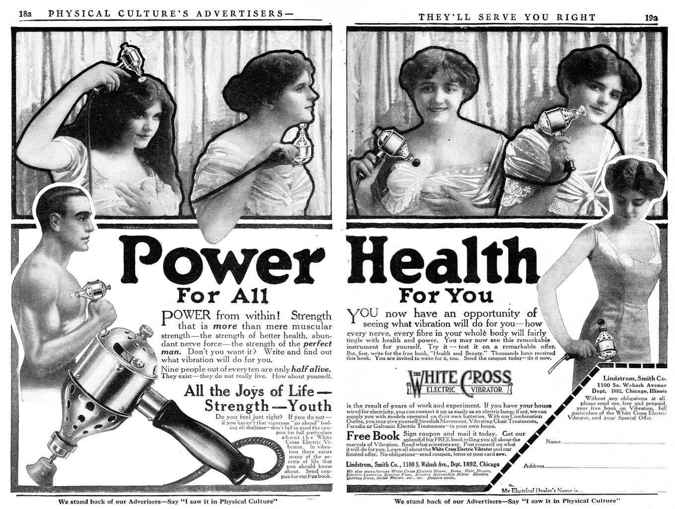 Power For All; Health For You. The White Cross Electric Vibrator