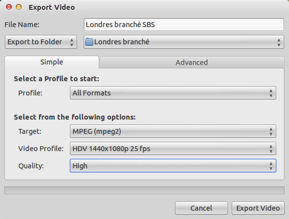 OpenShot export settings: France 2 1