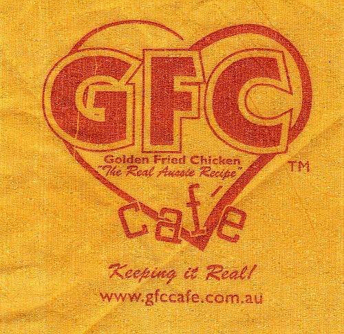 "Napkin: GFC café, Golden Fried Chicken ""The Real Aussie Recipe"""