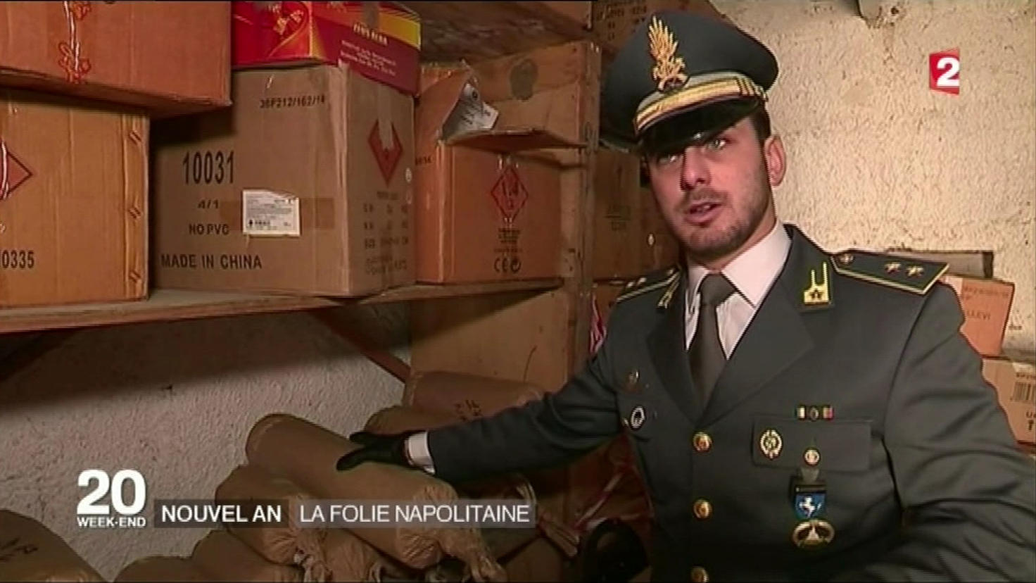 Commandant Andrea Giugno of the Guardia di Finanza showing consficated fireworks
