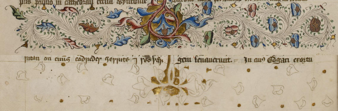 Detail of folios 12r and 23v from 15th century manuscript