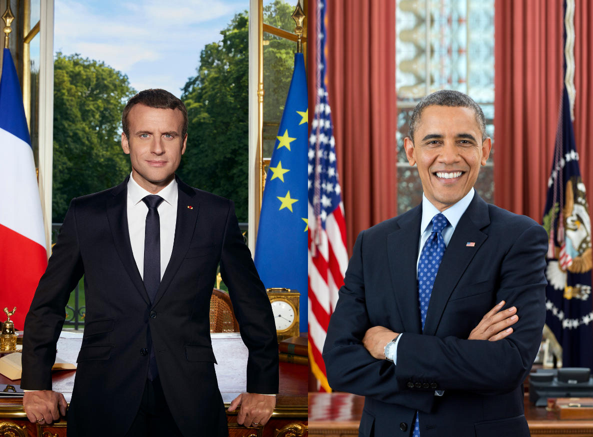 Official portraits of Emmanuel Macron & Barak Obama in similar surroundings and poses.